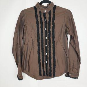 Pink Tartan brown button down blouse lace details